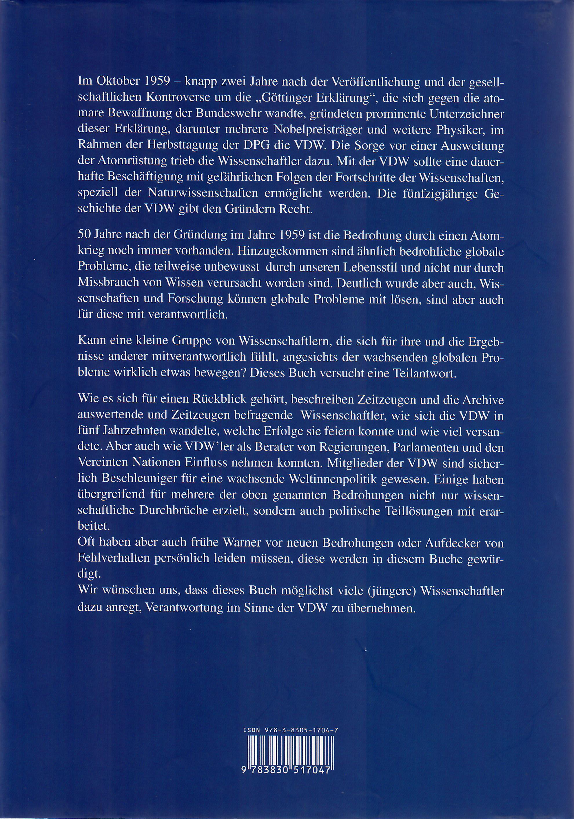 50 Jahre VDW Wissenschaft Verantwortung Frieden (Hardcover, Klappentext)