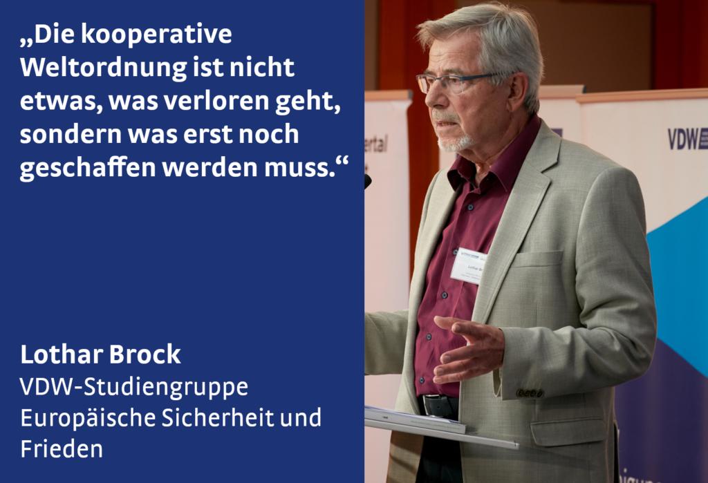 Lothar Brock bein Symposium Wir sind dran