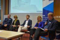 Hermann Held, Regine Kollek, Andreas Huber, Maria Reinisch, Jürgen Scheffran Podium der VDW-Tagung Viable World